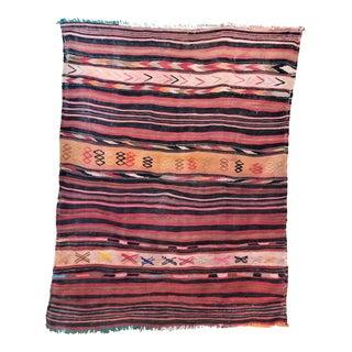 Moroccan Hanbel Kilim Wool Rug - 3′11″ × 4′10″
