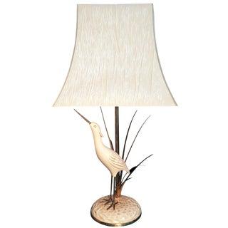 Vintage White Heron & Brass Lamp