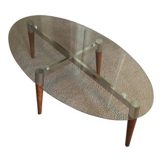Glass Top Nickel & Oak Finish Coffee Table