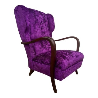 Paulo Buffa Style Purple Alligator Velvet Chair