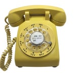 Image of Bright Yellow Rotary Dial Telephone