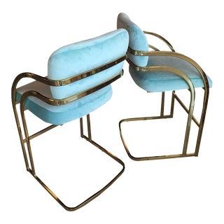 Milo Baughman Blue Velvet & Brass Cantilever Counter Stools - a Pair