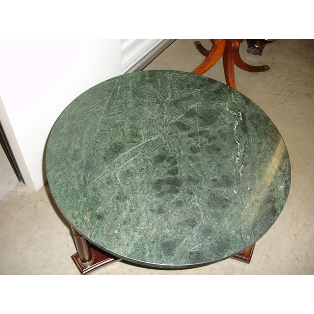 Vintage Marble Coffee Table: Vintage Green Marble Top & Mahogany Coffee Table