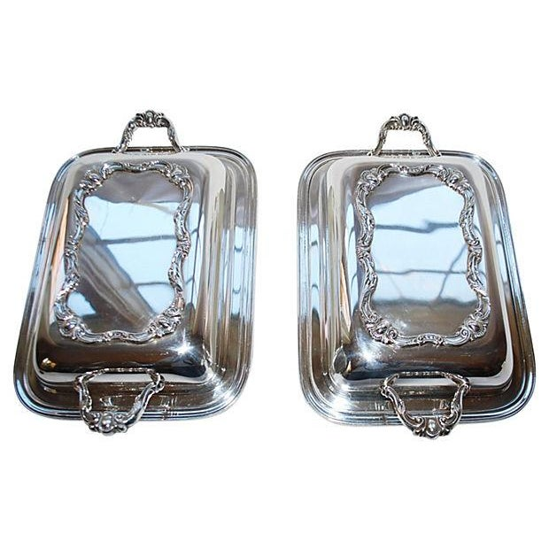 Rochelle Silver Covered Serving Dishes - A Pair - Image 1 of 5