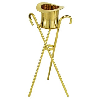 Brass Top Hat Champagne Cooler on Brass Cane Tripod Stand