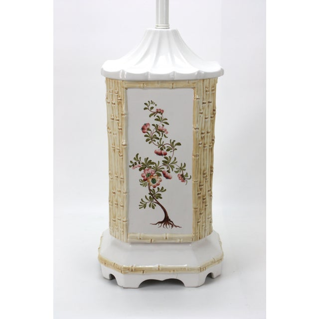 Image of Mid-Century Ceramic Chinoiserie Lamp