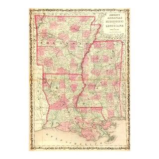 Vintage Map Louisiana, Arkansas & Mississippi,1863