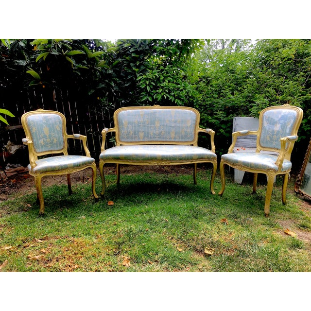 Gold Gilt Italian Louis XVI Settee & Chairs - Set of 3 - Image 2 of 9