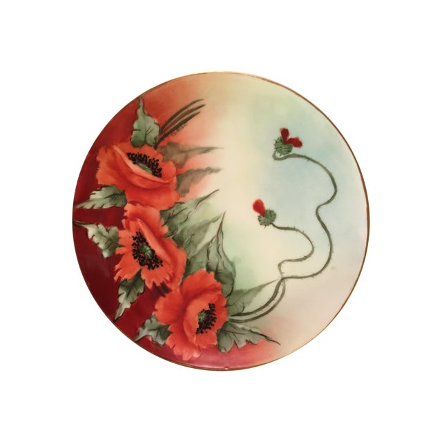 Limoges France Decorative Poppy Plate - Image 1 of 8