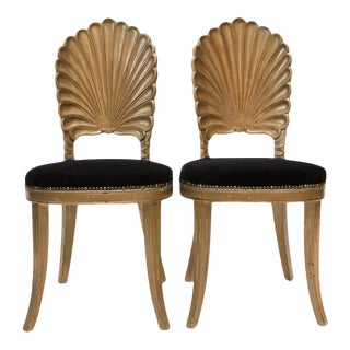 VENETIAN GROTTO SHELL BACK CHAIRS, A PAIR