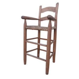 Antique Folk Art Handmade Child's High Chair With Rush Seat