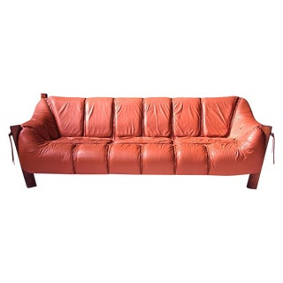 Percival Lafer MP-211 Brazilian Rosewood and Leather Sofa, 1970s