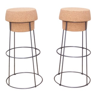 Italian Steel & Cork Bar Stools - A Pair