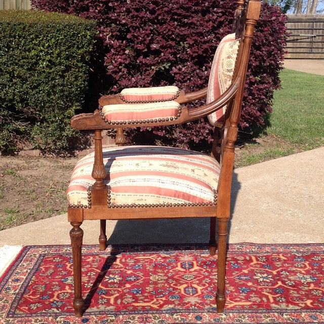 19th Century French Carved Mahogany Dining Arm Chairs - a Pair - Image 4 of 11