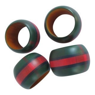 Hand-painted Plaid Napkin Rings-4 Pieces