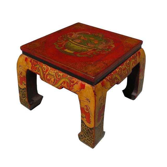 Red Tibetan Graphic Square Coffee Table Chairish