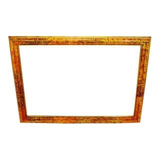 Vintage Mottled Paint Framed Mirror