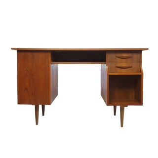Danish Modern Dual Sided Mirrored Partner Desk