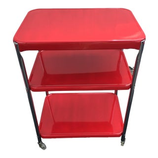 Vintage Cosco Cherry Red & Chrome Kitchen Cart