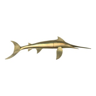 Vintage Hollywood Regency Style Brass Swordfish