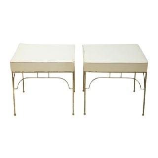 Mid-Century Gold Metal Base Benches - A Pair