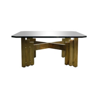 Brutalist Octagonal Glass Top Brass Coffee Table