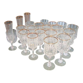 D. Arques French Crystal Gold Rimmed Glasses 20 Pc
