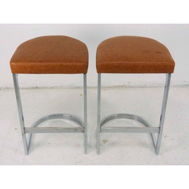 Image of Milo Baughman Style Flat Bar Chrome Cantilever Bar Stools - A Pair