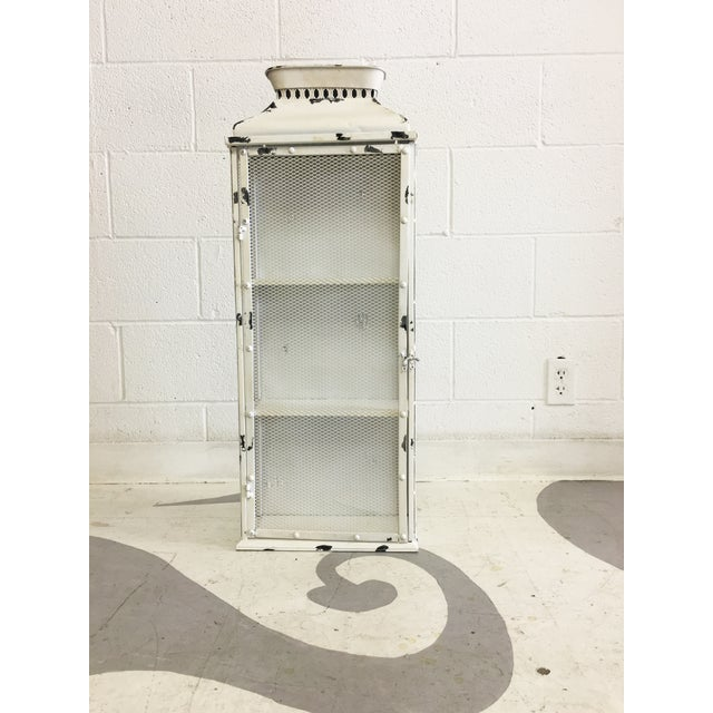 Shabby Chic White Metal Cabinet - Image 3 of 6