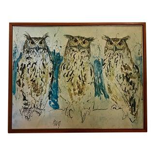 Framed Vintage Owl Print