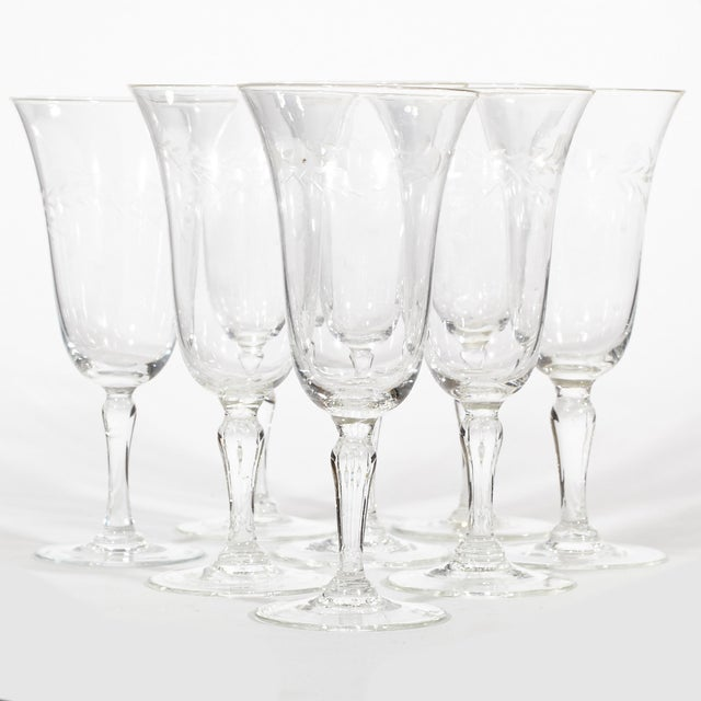 Image of 1950's Etched Wine Glass Stems - Set of 8