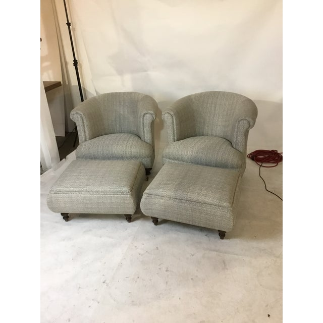Mid-Century Club Chairs and Ottomans - 4 Pieces - Image 2 of 6