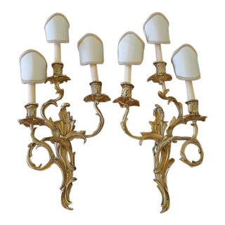 Louis XV Style Gilt Foliate 3-Light Wall Sconces - A Pair