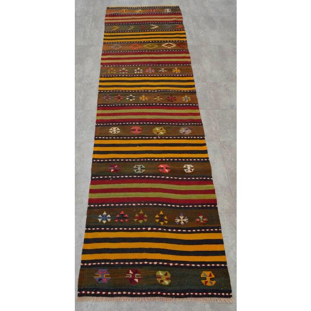 Turkish Kilim Hand Woven Wool Runner Rug