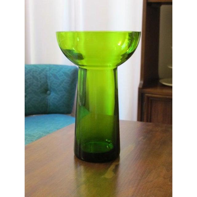 Image of Vintage Scandanavian Green Art Glass Centerpiece