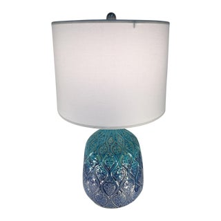 Ombre Blue & Turquise Mid-Century Styled Lamp