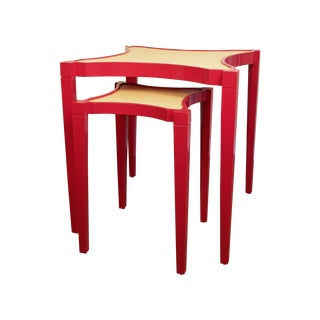 "Oomph ""Nantucket"" Nesting Tables in Red/Raffia - 2"