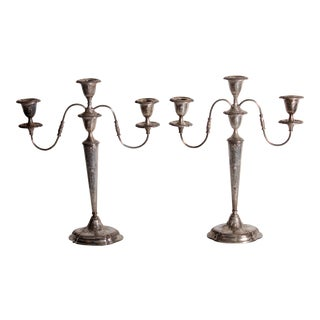 Antique E.G. Webster Silverplate Embossed Candelabras - A Pair
