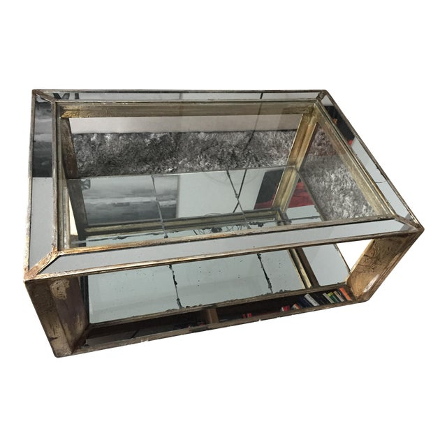 Glass mirrored distressed wood coffee table chairish for Mirror and wood coffee table