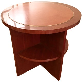 Ralph Lauren Wood & Leather Side Table