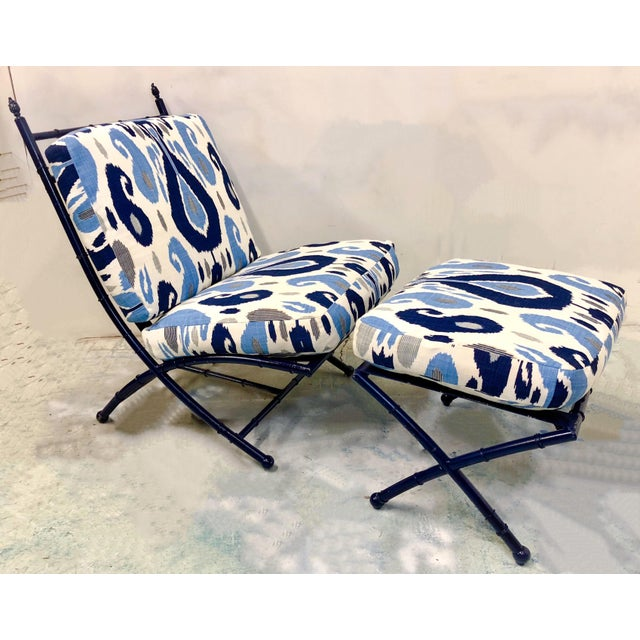 Faux Bamboo Chaise in Ikat - Image 5 of 5