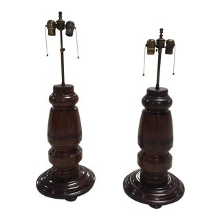 Mahogany Table Lamps - A Pair