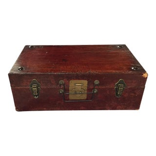 Vintage Leather Wrapped Wooden Trunk
