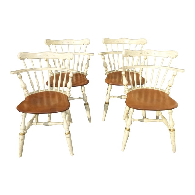 French Country White Ethan Allen Comb Back Chairs Set Of