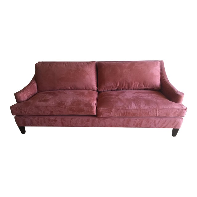 Image of Arhaus Burnt Orange Velvet Sofa