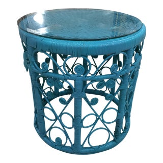 Blue Wicker Drum Table