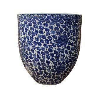 Chinese Blue & White Porcelain Floral Dragon Pot