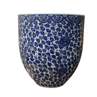 Chinese Blue & White Porcelain Floral Dragon Pot