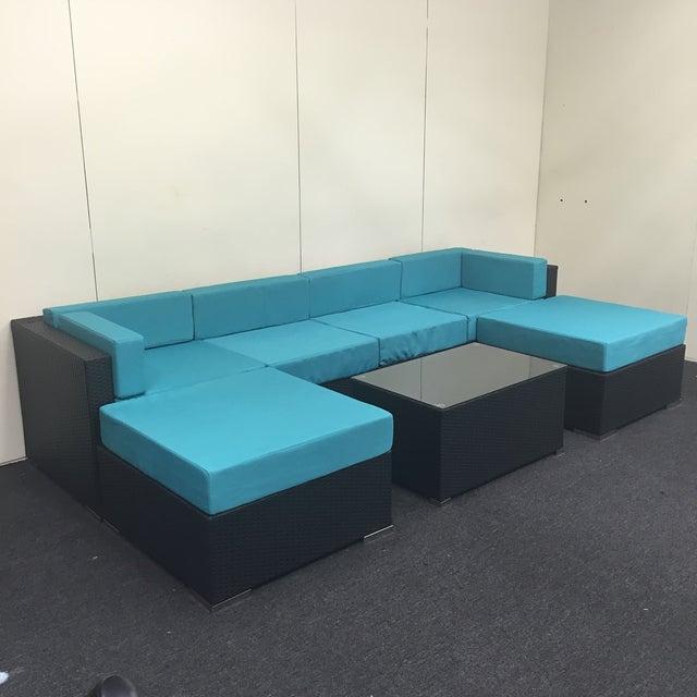 Turquoise Wicker Patio Set - Image 2 of 9