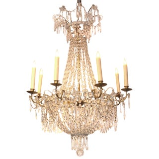 19th Century Crystal and Bronze Chandelier